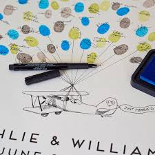alternative guest book thumbprint alternative guestbook prop plane wedding guest