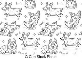eps vector of baby puppy cartoon coloring page black and white