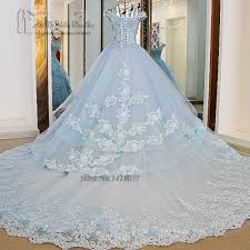 Wedding Dresses Ball Gown Vestido De Noiva Princesa Luxo Vintage Light Blue Wedding Dresses