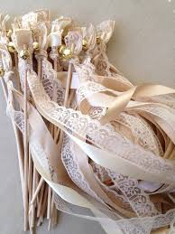 50 wedding wands lace ribbon bells streamers birthday party