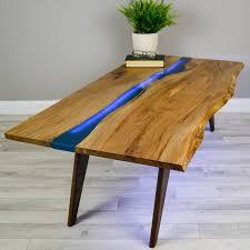 river resin elm coffee table on walnut base by frances bradley