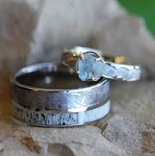 unique wedding ring unique wedding ring set meteorite engagement ring and band