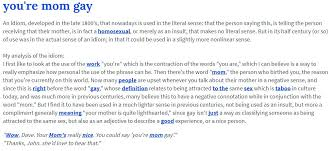 Meme Dictionary Definition - urban dictionary definition you re mom gay know your meme