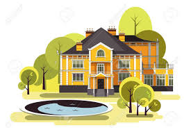 country mansion vector illustration of a two storey country mansion with a garden