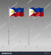 Filipino Flag Colors Philippines Flag On Flagpole Official Colors Stock Vector