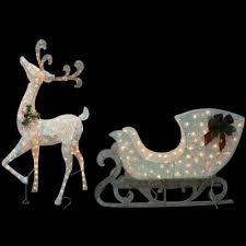 home accents holiday 5 ft thin pvc lighted reindeer with sleigh