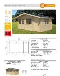 House Specification Sheet by The Borkum 4 40mm Log Cabin U2013 4 85m X 3 0m U2013 Under 2 5m High