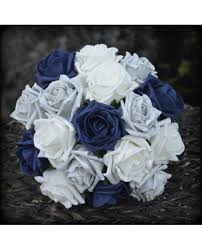 Bridesmaid Flowers Silver Rose Bridesmaid Bouquet Of Navy Blue And Silver Grey