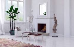 minimalist fireplace minimalist fireplace in a living room stock illustration