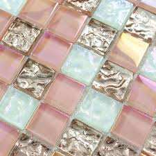 Gold Items Crystal Glass Mosaic Tile Wall Backsplashes by Crystal Glass Tile Sheets Square Iridescent Mosaic Metal