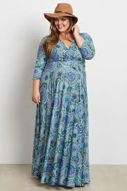maxi dress with sleeves blue paisley v neck 3 4 sleeve plus size maxi dress