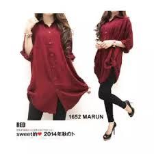 Baju Muslim Ukuran Besar f fashion kemeja wanita jumbo size maroon baju jumbo kemeja