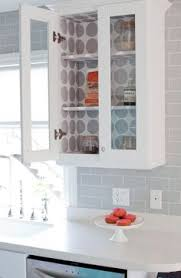 Kitchen Cabinet Paper Line The Back Of Your Kitchen Cabinets With Fabric And Thumbtacks