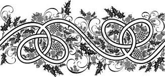 beautiful border with celtic ornament and flowers thistle black