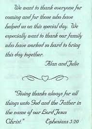 wedding thank yous wording program thank you exles