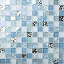 Glass Tile Kitchen Backsplash by Tst Crystal Glass Tiles Blue Glass Mosaic Tile Iridescent Mosaic