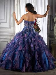 wedding dress with purple back but orange instead of purple