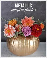 diy metallic pumpkin planter barone