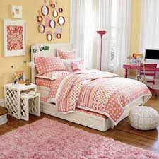 magnificent pink and yellow teenage bedroom decoration using