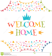welcome home text with colorful design elements greeting card