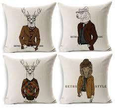 housse de coussin de canapé animaux coussin couvre rétro chic cerf cerf loup lapin