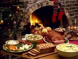 buffet table with fireplace wallpaper food fire christmas fireplace holiday meal cuisine