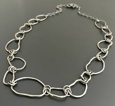 handmade chain necklace images Sterling silver hammered necklace handmade by wild prairie silver jpeg