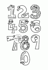 monster numbers coloring pages for kids counting numbers