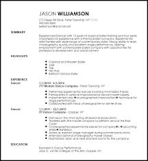 Ballet Resume Sample by Free Contemporary Dancer Resume Template Resumenow