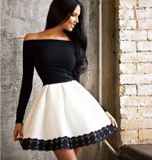 black and white dresses black white patchwork lace boat neck homecoming midi