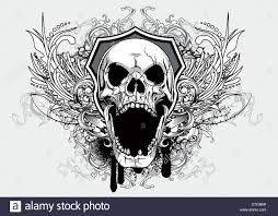 vintage t shirt design with skull stock photo royalty free image