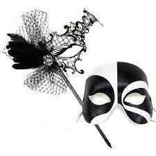 black and white masquerade masks colette deluxe stick black white masquerade masks for a