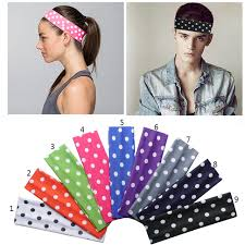 stretch headbands 2 inch polka dots prints boys softball cotton stretch