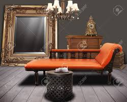 vintage furnitures decorated in living room stock photo picture