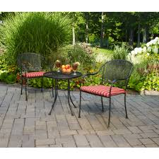 Patio Furniture Wrought Iron Dining Sets - mainstays wrought iron 3 piece outdoor bistro set seats 2