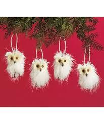 set of 4 white owls woodland animal christmas tree ornaments
