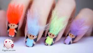 troll nail art piggieluv 3d troll dolls nail art nails