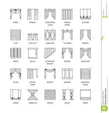 vector line icons with drapes window curtains blinds and shade