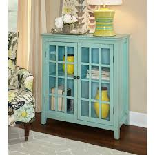 linon home decor largo antique turquoise storage cabinet