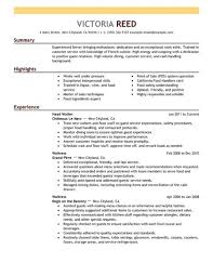 Resume Transferable Skills Examples by Server Resume Examples Radisson Helena Banquet Server Job Opening