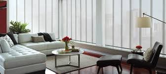 interior white modern vertical blinds with brown upholstery sofa