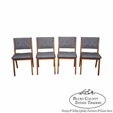 jens risom mid century modern set of 4 dining chairs by knoll