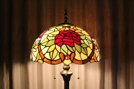 red rose stained glass tiffany floor lamp home lighting parrotuncle