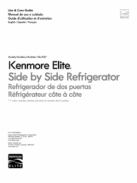 kenmore elite side by side refrigerator 106 5118 english manual