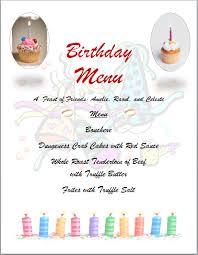 birthday party menu template card templates
