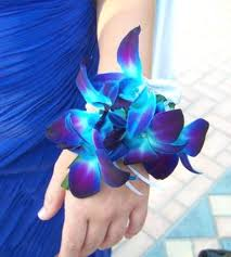 blue corsages for prom wrist corsage blue orchid