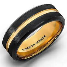 black gold mens wedding band wholesale mens wedding band two tone black gold tungsten ring