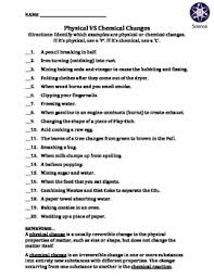worksheet physical vs chemical changes worksheets students and