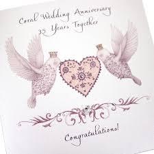 35 year wedding anniversary handmade coral anniversary wedding card lovebirds heart 35 years