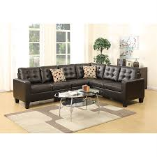 shop poundex roxana casual espresso faux leather sectional at